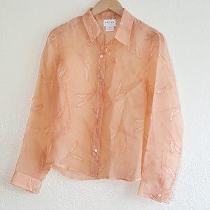 Oscar de la Renta Sheer Silk Button Down Shirt